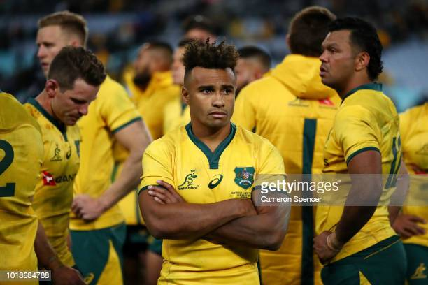 Will Genia of the Wallabies looks dejected after losing The Rugby Championship Bledisloe Cup match between the Australian Wallabies and the New...