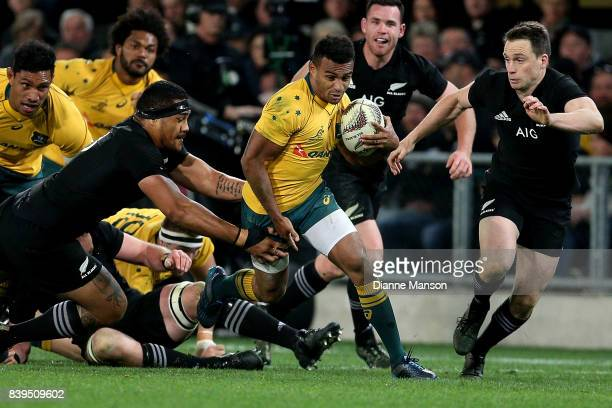 Will Genia of the Wallabies makes a break during The Rugby Championship Bledisloe Cup match between the New Zealand All Blacks and the Australia...