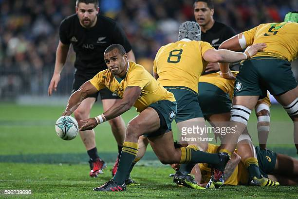 Will Genia of the Wallabies passes from a ruck during the Bledisloe Cup Rugby Championship match between the New Zealand All Blacks and the Australia...
