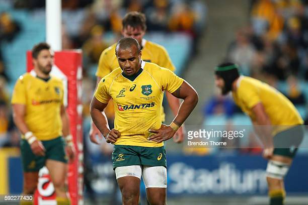 Will Genia of the Wallabies shows his dejection during the Bledisloe Cup Rugby Championship match between the Australian Wallabies and the New...