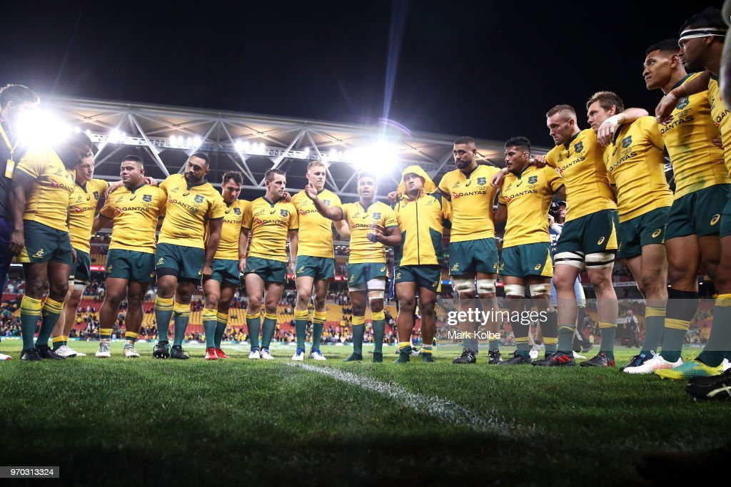 Will Genia of the Wallabies speaks to his team in a huddle after victory during the International Test match between the Australian Wallabies and Ireland at Suncorp Stadium on June 9, 2018 in Brisbane, Australia.