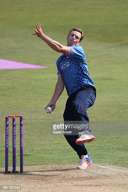 Will Gidman of Kent bowls during the Royal London OneDay Cup quarter final between Kent v Yorkshire on August 18 2016 in Canterbury England