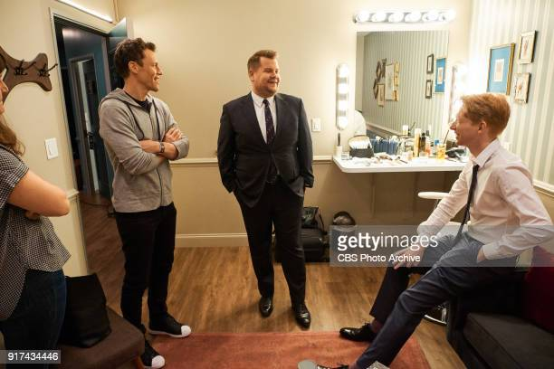Will Gluck and Domhall Gleeson chat in the green room with James Corden during 'The Late Late Show with James Corden' Monday February 5 2018 On The...