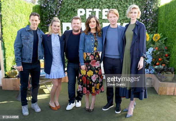 Will Gluck Margot Robbie James Corden Rose Byrne Domhnall Gleeson and Elizabeth Debicki attend the photo call for Columbia Pictures' 'Peter Rabbit'...