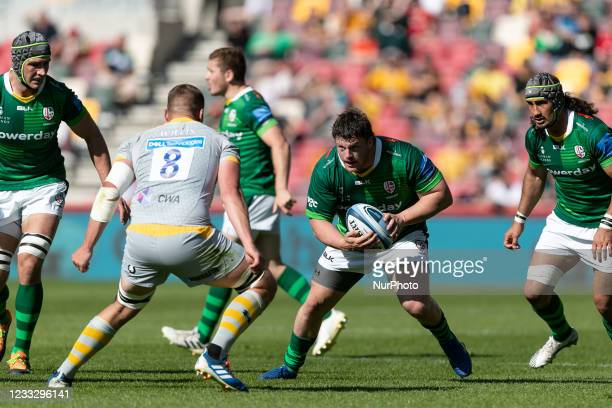 Will Goodrick-Clarke of London Irish in action during the Gallagher Premiership match between London Irish and Wasps at the Brentford Community...