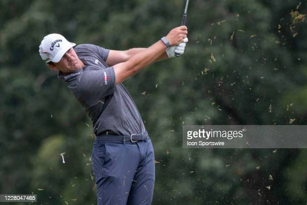 Will Gordon tees off on the 16th hole during the second round of the Wyndham Championship golf tournament at Sedgefield Country Club in Greensboro,...
