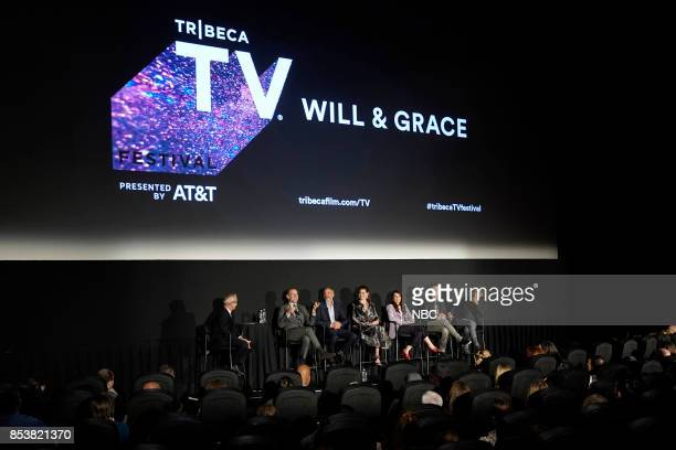 WILL GRACE Will Grace at Tribeca TV Festival Pictured Moderator Jess Cagle Max Mutchnick David Kohan Debra Messing Megan Mullally Sean Hayes Eric...