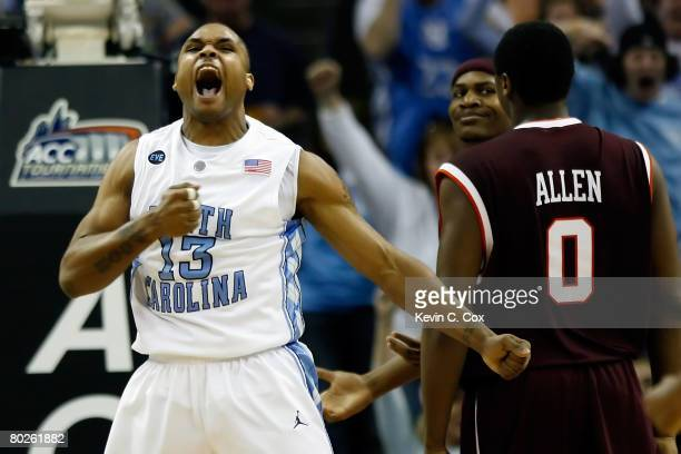 Will Graves of the North Carolina Tar Heels reacts during the game against the of the Virginia Tech Hokies during the semifinals of the 2008 Men's...