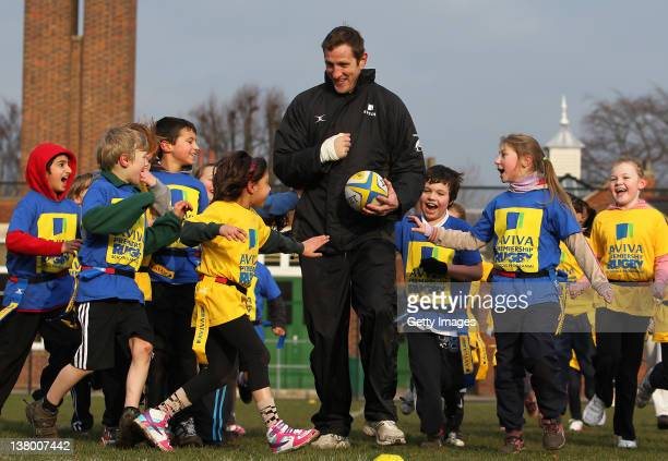 Will Greenwood and children from Bignold School Norwich take part in a tag rugby session as part of the Aviva Premiership Rugby Schools programme on...