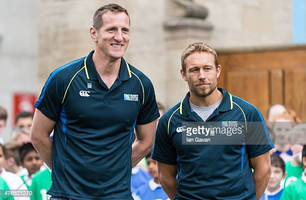 Will Greenwood and Jonny Wilkinson attend the launch of the Rugby World Cup Trophy Tour 100 days before the Rugby World Cup at Twickenham Stadium on...