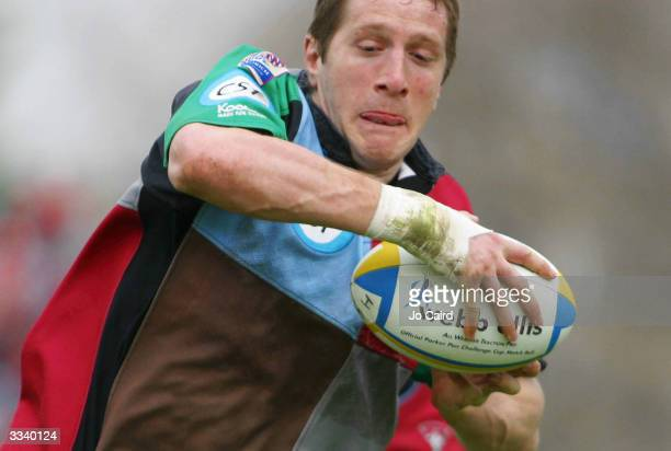 Will Greenwood of Harlequins scores during the Parker Pen Challenge Cup semifinal match between Harlequins and Connacht at The Stoop on April 11 2004...