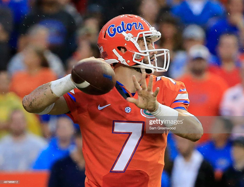 Will Grier #7 of the Florida Gators attempts a pass during the game against the East Carolina Pirates at Ben Hill Griffin Stadium on September 12, 2015 in Gainesville, Florida.