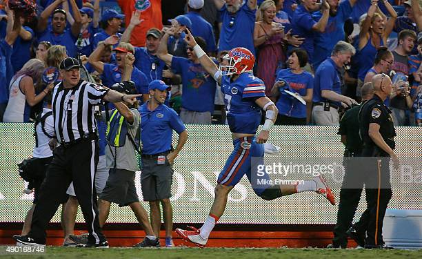 Will Grier of the Florida Gators reacts to a touchdown during a game against the Tennessee Volunteers at Ben Hill Griffin Stadium on September 26...