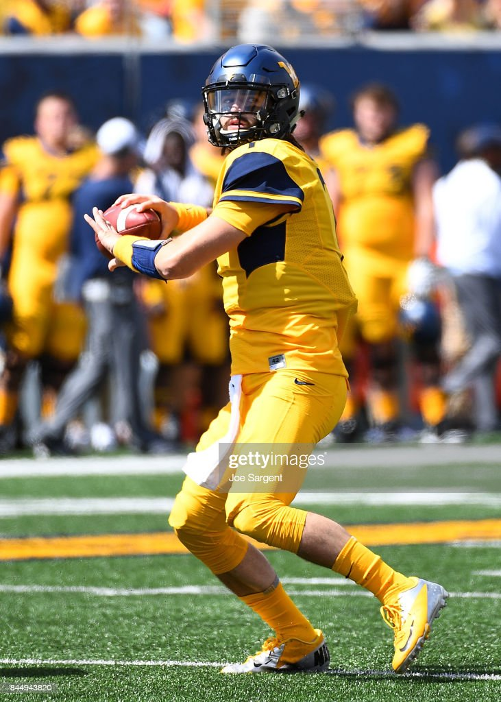 Will Grier #7 of the West Virginia Mountaineers looks to pass during the second quarter against the East Carolina Pirates at Mountaineer Field on September 9, 2017 in Morgantown, West Virginia.