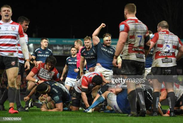 Will Griff John of Sale celebrates the 2nd Sale try during the Gallagher Premiership Rugby match between Gloucester Rugby and Sale Sharks at on...