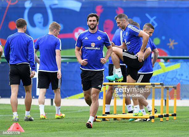 Will Grigg at this mornings Northern Ireland team training session at their training camp on June 14 2016 in Lyon France