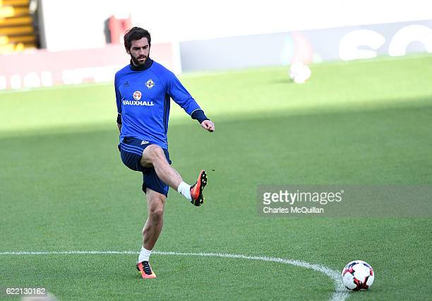 Will Grigg during a training session at Windsor Park on November 10 2016 in Belfast Northern Ireland Northern Ireland play Azerbaijan in a 2018 World...
