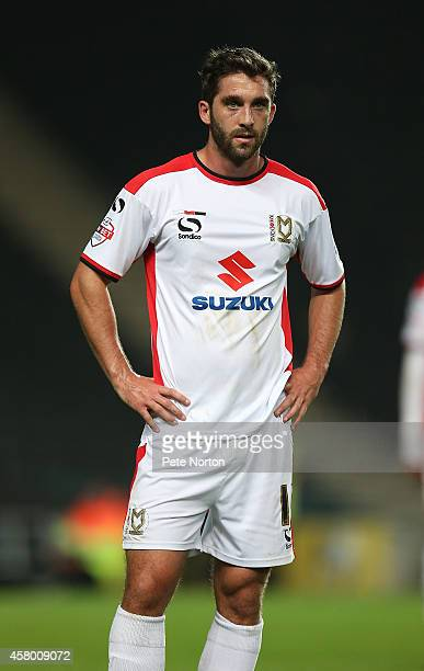 Will Grigg of MK Dons in action during the Capital One Cup Fourth Round match between MK Dons and Sheffield United at Stadium mk on October 28 2014...