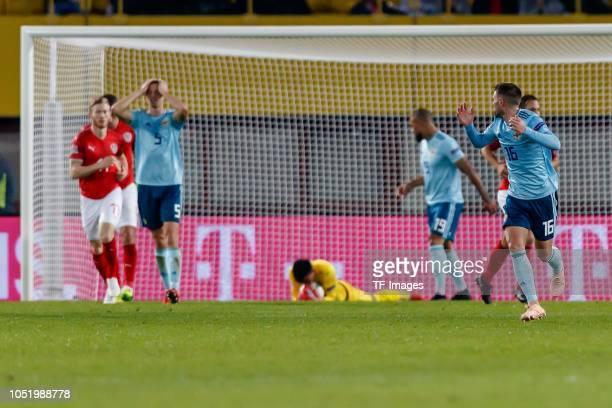 Will Grigg of Northern Ireland and Oliver Norwood of Northern Ireland gesture during the UEFA Nations League B group three match between Austria and...