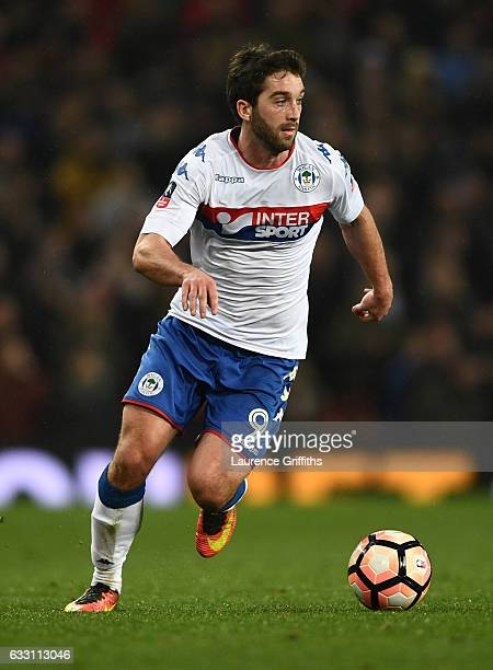 Will Grigg of Wigan Athletic in action during the Emirates FA Cup Fourth Round match between Manchester United and Wigan Athletic at Old Trafford on...