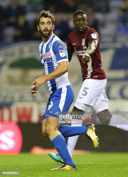 Will Grigg of Wigan Athletic in action during the Sky Bet League One match between Wigan Athletic and Northampton Town at DW Stadium on September 19...