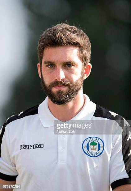Will Grigg of Wigan Athletic prior to the PreSeason Friendly between Macclesfield Town and Wigan Athletic at Moss Rose Ground on July 20 2016 in...