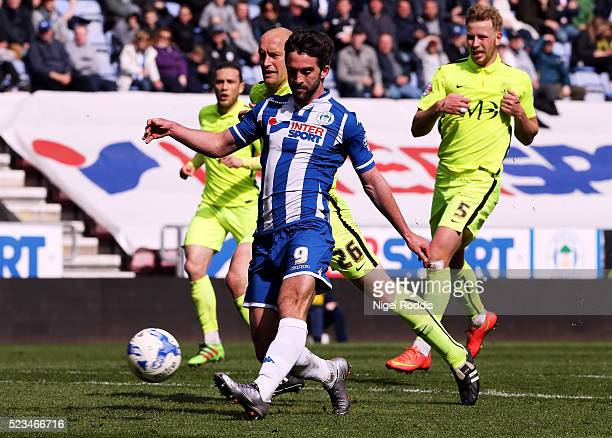 Will Grigg of Wigan Athletic shoots to score during the Sky Bet League One match between Wigan Athletic and Southend United at DW Stadium on April 23...
