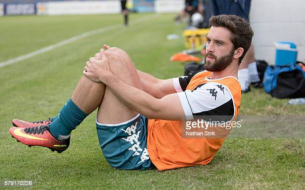 Will Grigg of Wigan Athletic warming up during the PreSeason Friendly between Macclesfield Town and Wigan Athletic at Moss Rose Ground on July 20...