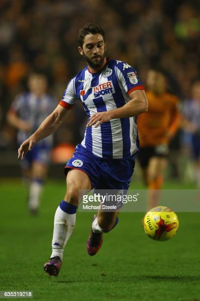 Will Grigg of Wigan during the Sky Bet Championship match between Wolverhampton Wanderers and Wigan Athletic at Molineux on February 14 2017 in...