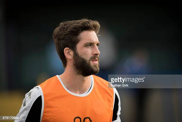 Will Grigg warming up prior to the PreSeason Friendly between Macclesfield Town and Wigan Athletic at Moss Rose Ground on July 20 2016 in...