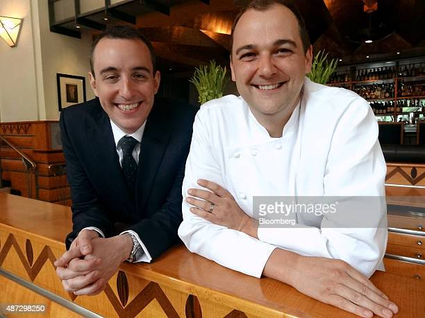 Will Guidara left and Daniel Humm coowners of Eleven Madison Park restaurant stand for a photograph in New York US on Monday June 3 2013 Photographer...
