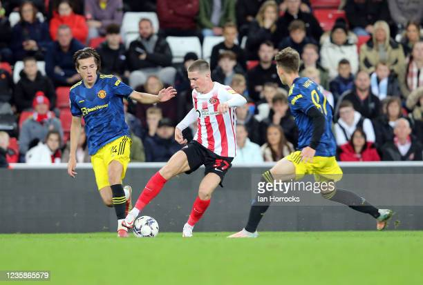 Will Harris of Sunderland during the Papa John's Trophy match between Sunderland and Manchester United at Stadium of Light on October 13, 2021 in...