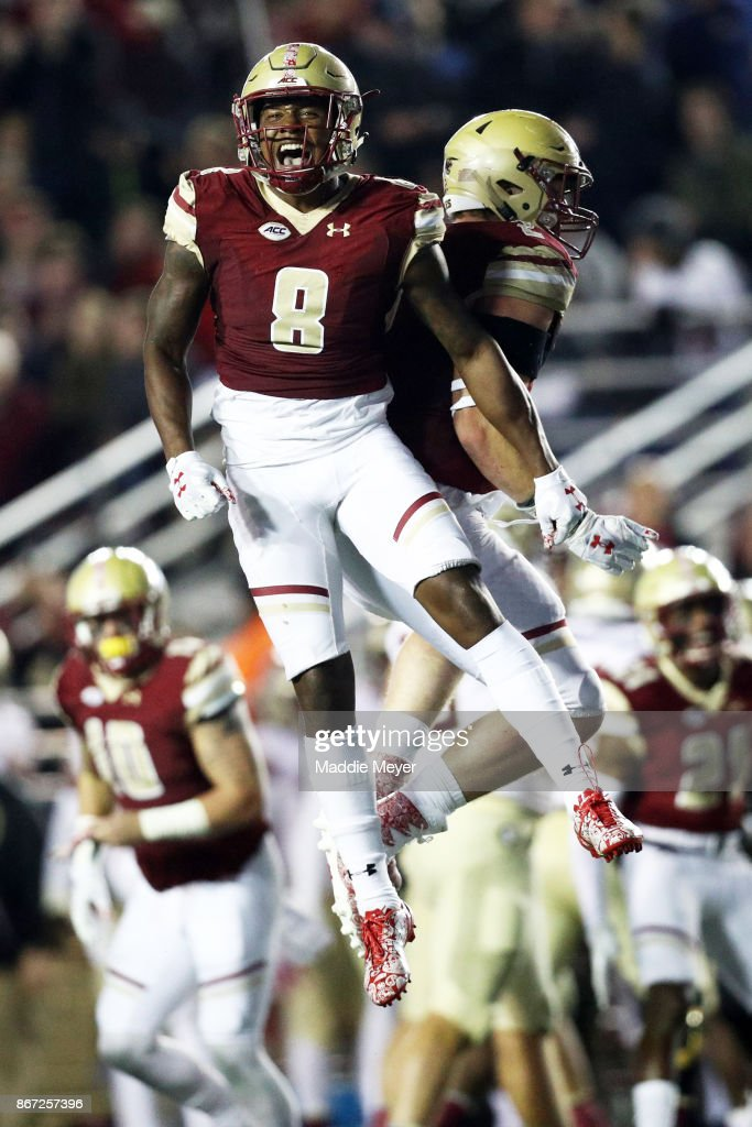 Will Harris #8 of the Boston College Eagles celebrates after the Eagles stopped the Florida State Seminoles on a fourth down play during the third quarter at Alumni Stadium on October 27, 2017 in Chestnut Hill, Massachusetts.