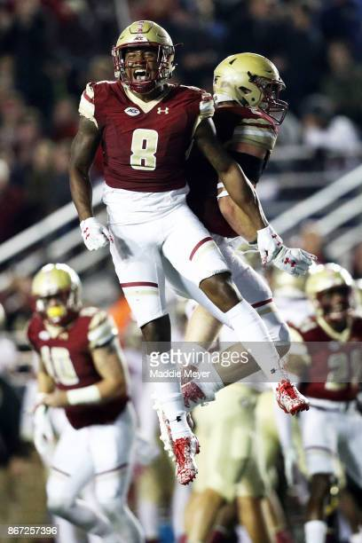 Will Harris of the Boston College Eagles celebrates after the Eagles stopped the Florida State Seminoles on a fourth down play during the third...