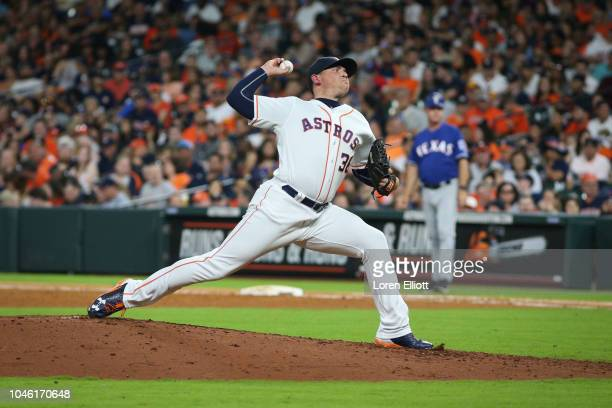 Will Harris of the Houston Astros delivers a pitch during the game between the Houston Astros and the Texas Rangers at Minute Maid Park on Saturday...