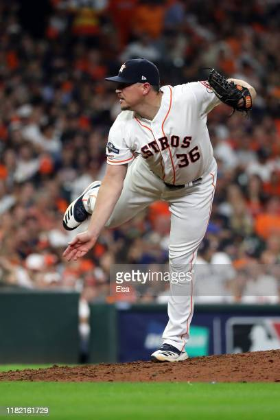 Will Harris of the Houston Astros delivers the pitch against the New York Yankees during the seventh inning in game six of the American League...
