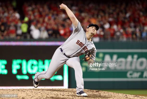 Will Harris of the Houston Astros delivers the pitch against the Washington Nationals during the sixth inning in Game Four of the 2019 World Series...
