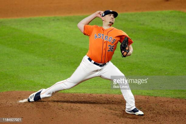 Will Harris of the Houston Astros delivers the pitch against the Washington Nationals during the seventh inning in Game Seven of the 2019 World...