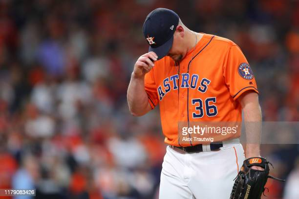 Will Harris of the Houston Astros leaves the game in the seventh inning during Game 7 of the 2019 World Series between the Washington Nationals and...