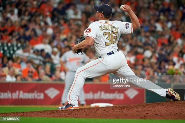 Will Harris of the Houston Astros pitches against the Baltimore Orioles at Minute Maid Park on Monday April 2 2018 in Houston Texas