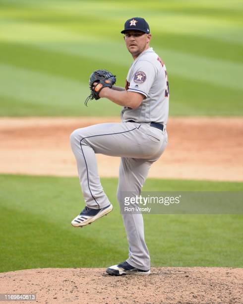 Will Harris of the Houston Astros pitches against the Chicago White Sox during the first game of a doubleheader on August 13 2019 at Guaranteed Rate...