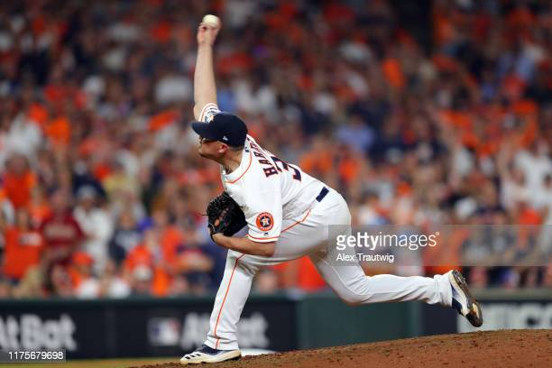 Will Harris of the Houston Astros pitches during Game 2 of the ALCS between the New York Yankees and the Houston Astros at Minute Maid Park on Sunday...