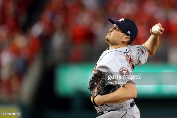 Will Harris of the Houston Astros pitches during Game 3 of the 2019 World Series between the Houston Astros and the Washington Nationals at Nationals...