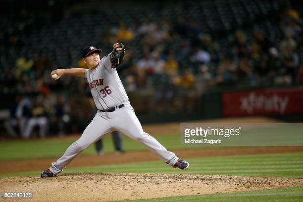 Will Harris of the Houston Astros pitches during the game against the Oakland Athletics at the Oakland Alameda Coliseum on June 21 2017 in Oakland...