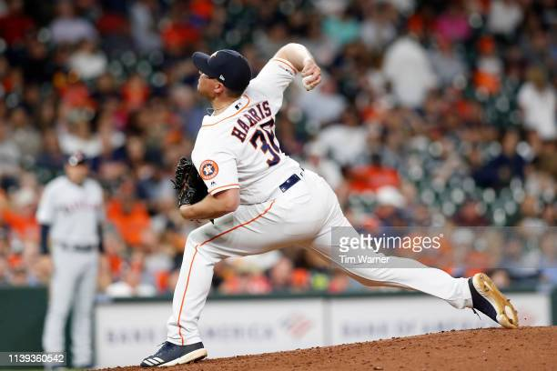 Will Harris of the Houston Astros pitches in the eighth inning against the Cleveland Indians at Minute Maid Park on April 25 2019 in Houston Texas