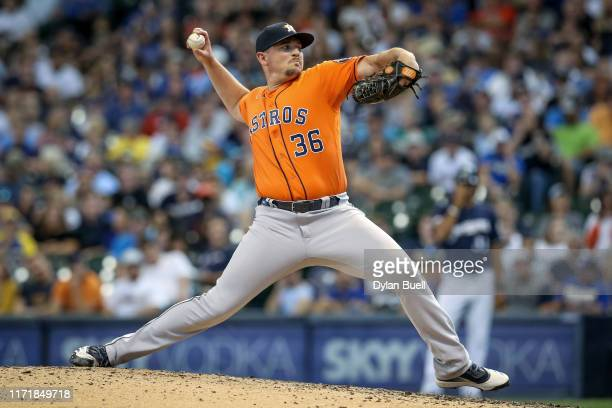 Will Harris of the Houston Astros pitches in the eighth inning against the Milwaukee Brewers at Miller Park on September 02 2019 in Milwaukee...