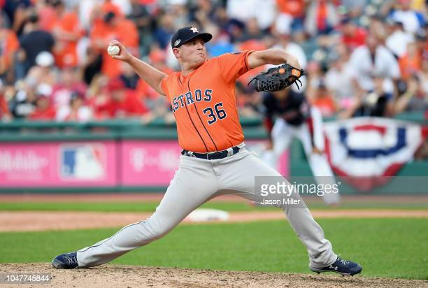 Will Harris of the Houston Astros pitches in the ninth inning against the Cleveland Indians during Game Three of the American League Division Series...
