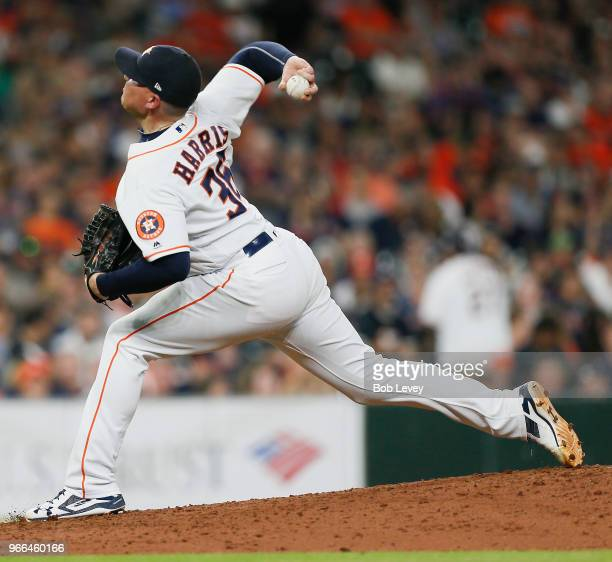 Will Harris of the Houston Astros pitches in the seventh inning against the Boston Red Sox at Minute Maid Park on June 2 2018 in Houston Texas