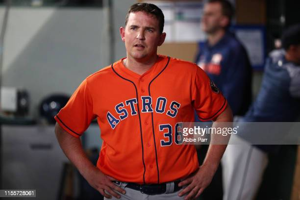 Will Harris of the Houston Astros reacts after being pulled from the seventh inning against the Seattle Mariners during their game at TMobile Park on...