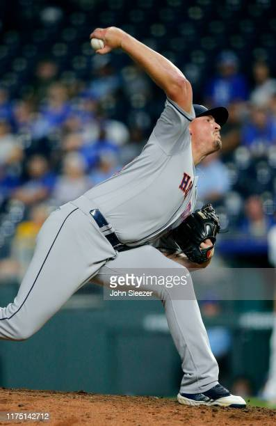 Will Harris of the Houston Astros throws in the ninth inning against the Kansas City Royals at Kauffman Stadium on September 14 2019 in Kansas City...